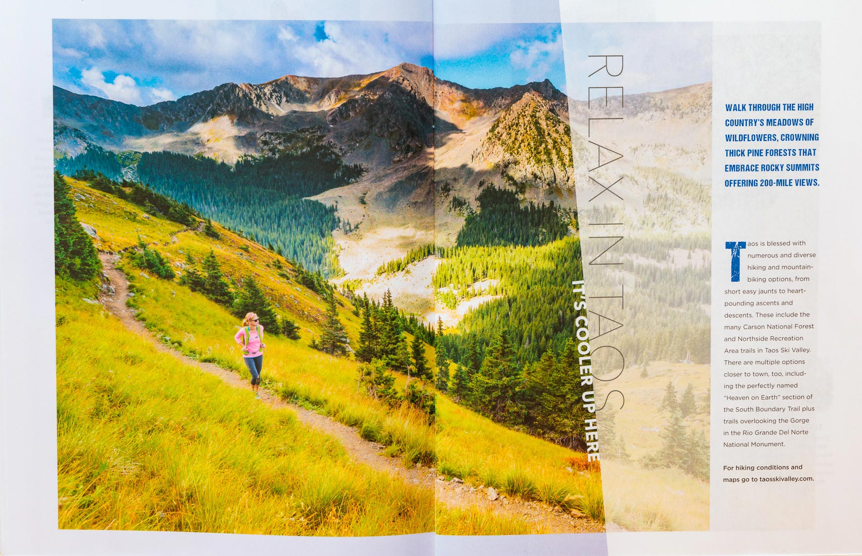 Taos Ski Valley Visitor Guide Hiker Spread Photographer M DeYoung