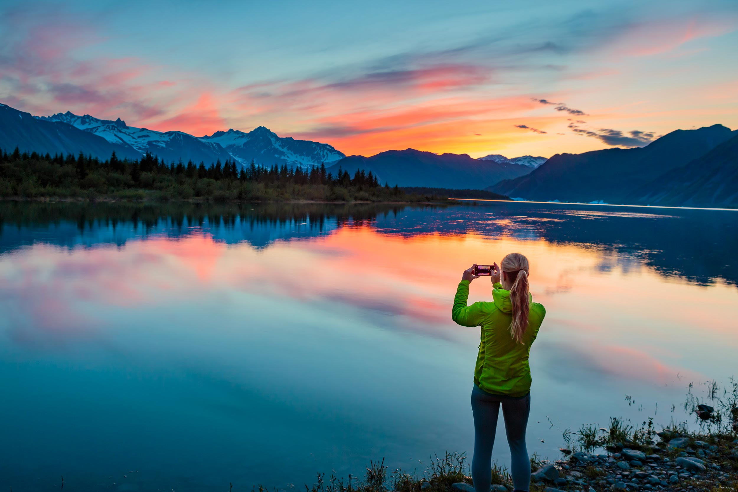Alaska Adventure Travel Tourism Serene Lake Sunset