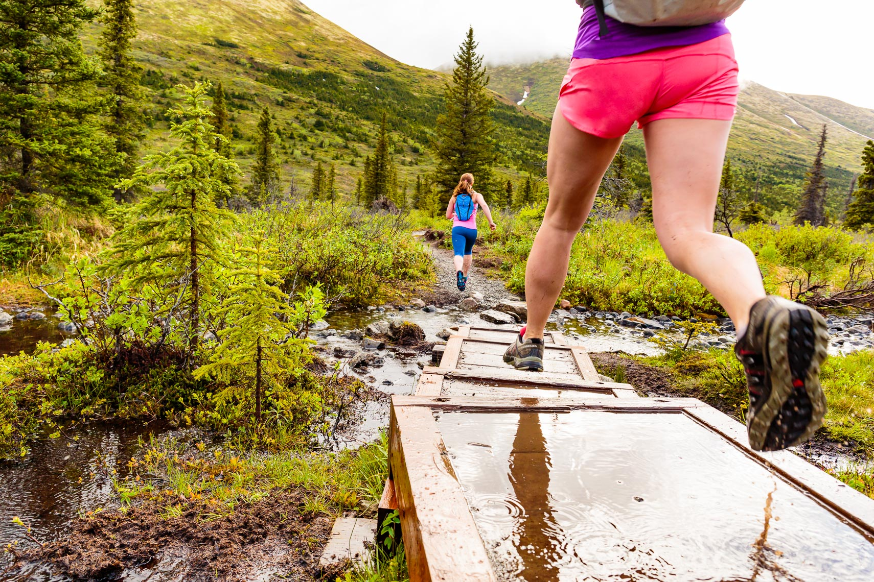 Alaska Trail Run Wet Boardwalk | Michael DeYoung