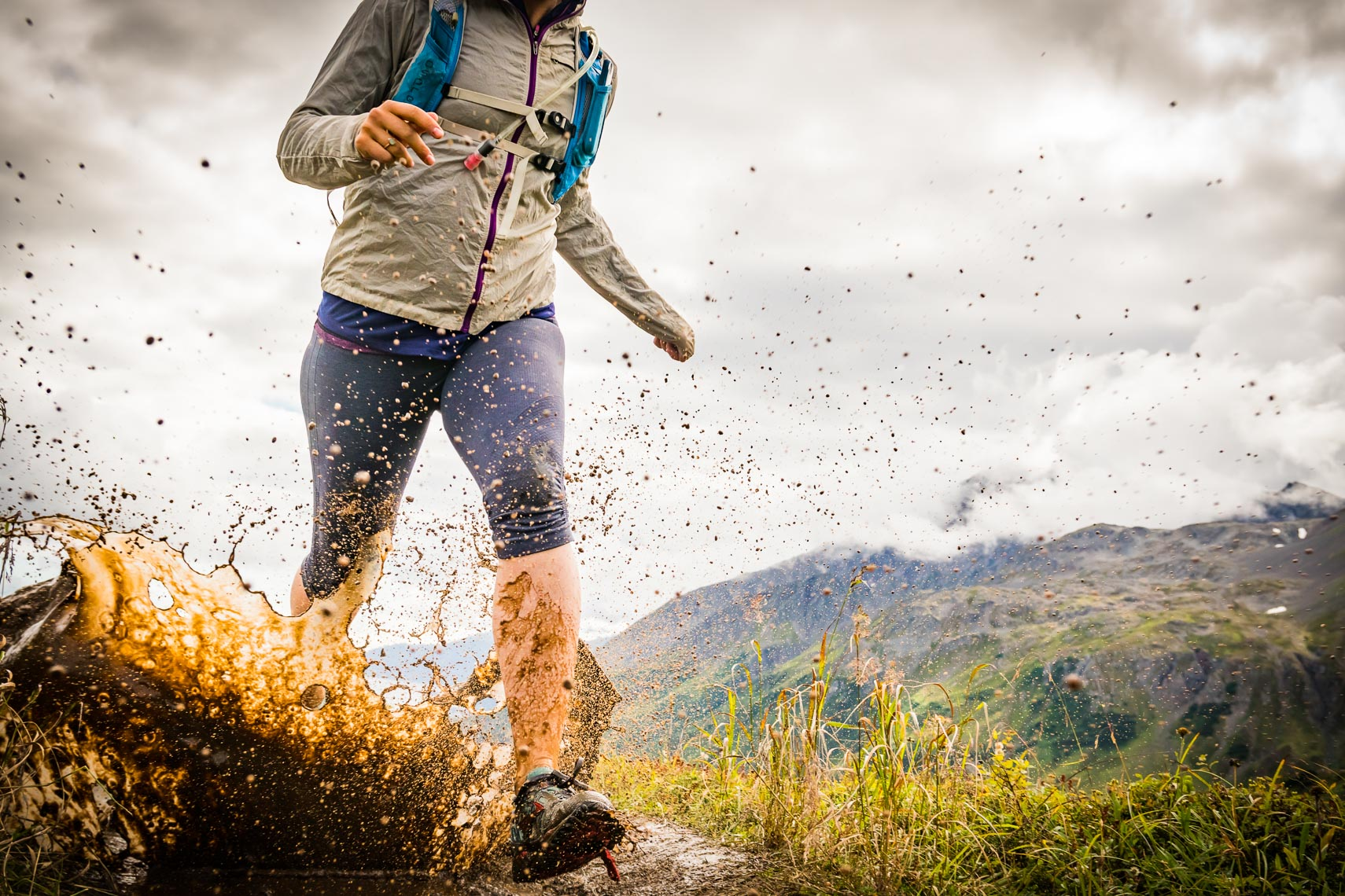 Alaska Trail Runner Mud Puddle Splash | Michael DeYoung