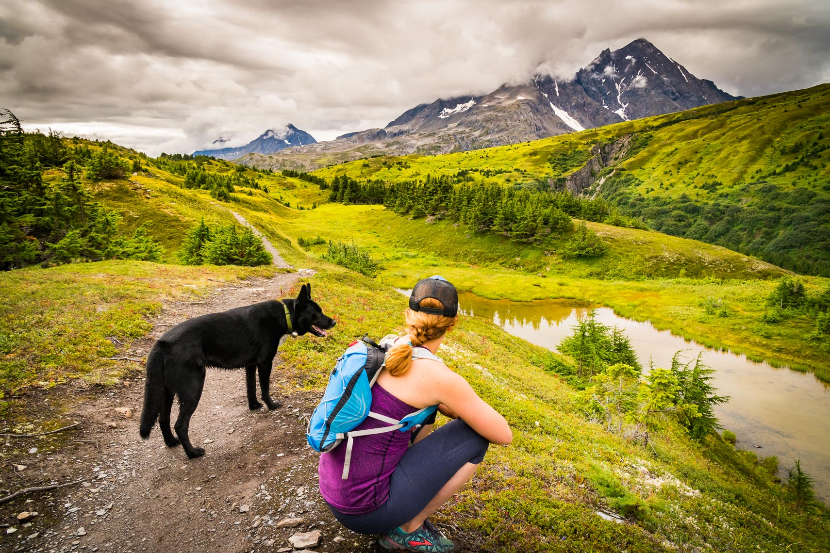 Alaska Hiking Trail with Dog | Michael DeYoung Photography
