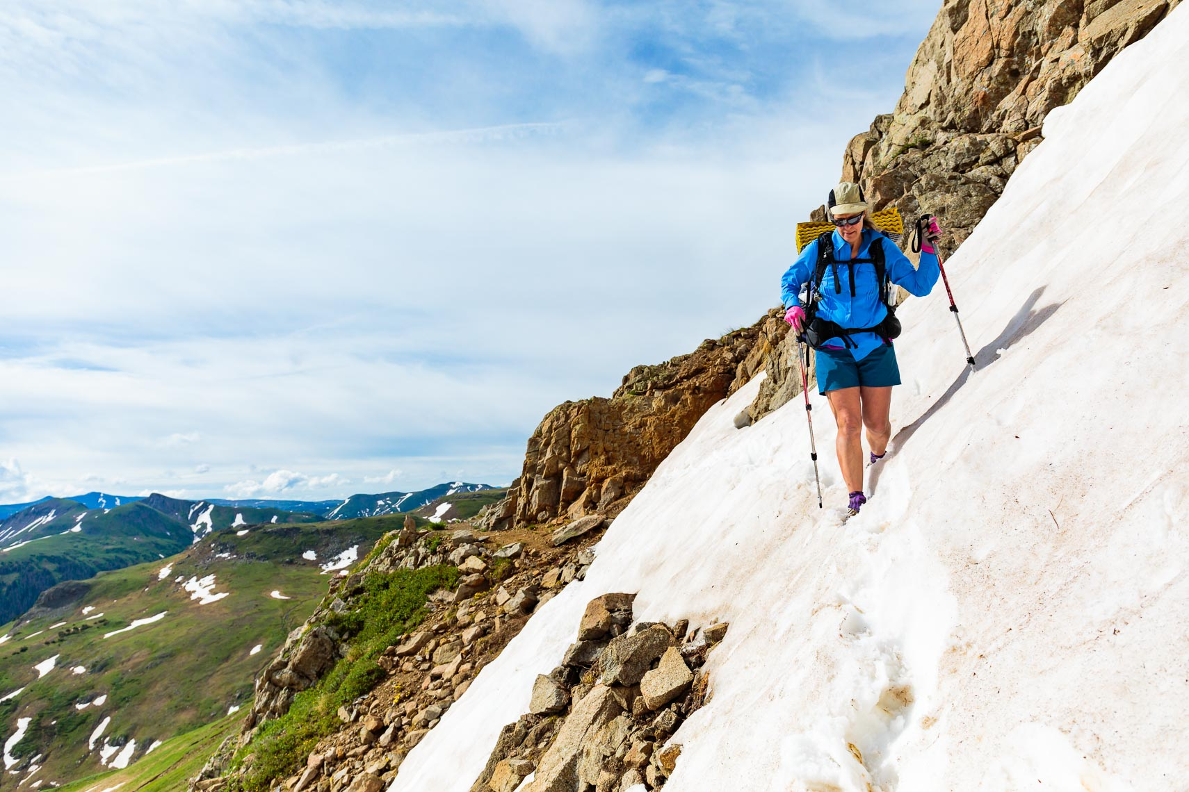 Snowy Trail Crossing Adventure Hiker | Michael DeYoung