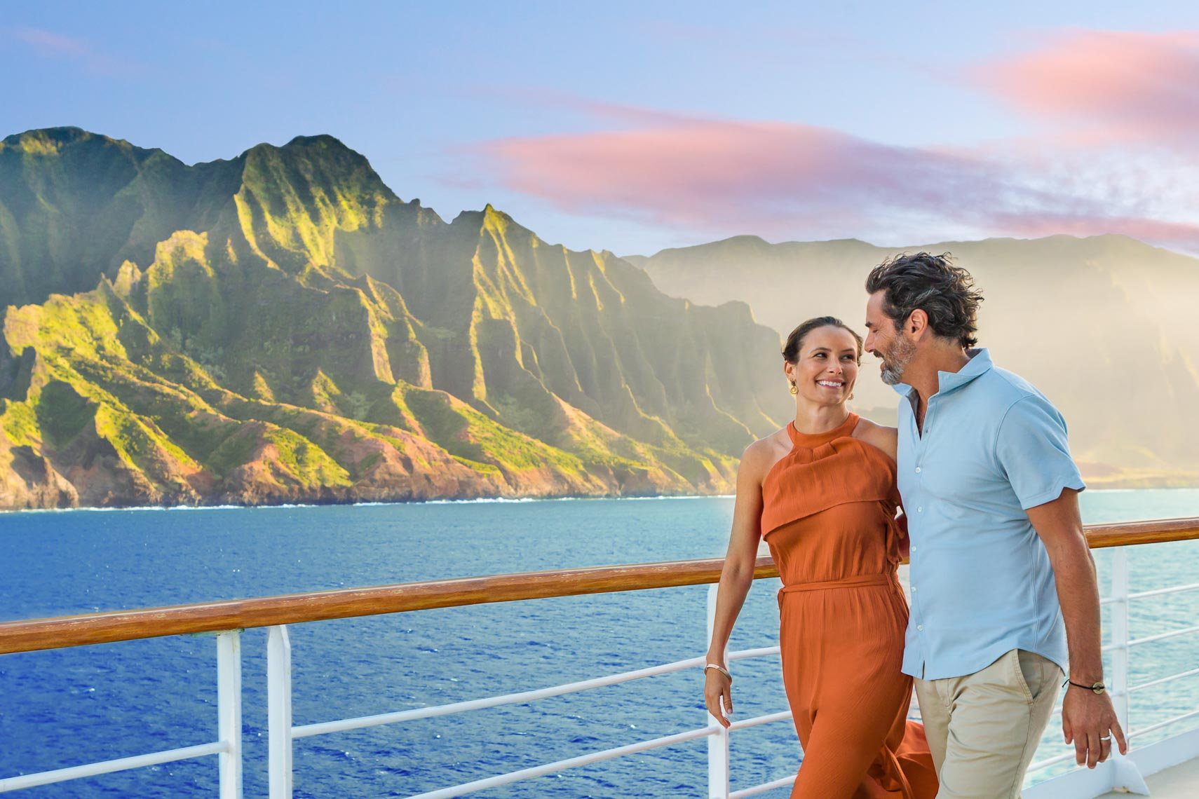 Norwegian Cruise Line Hawaii Couple Walk Deck | Michael DeYoung