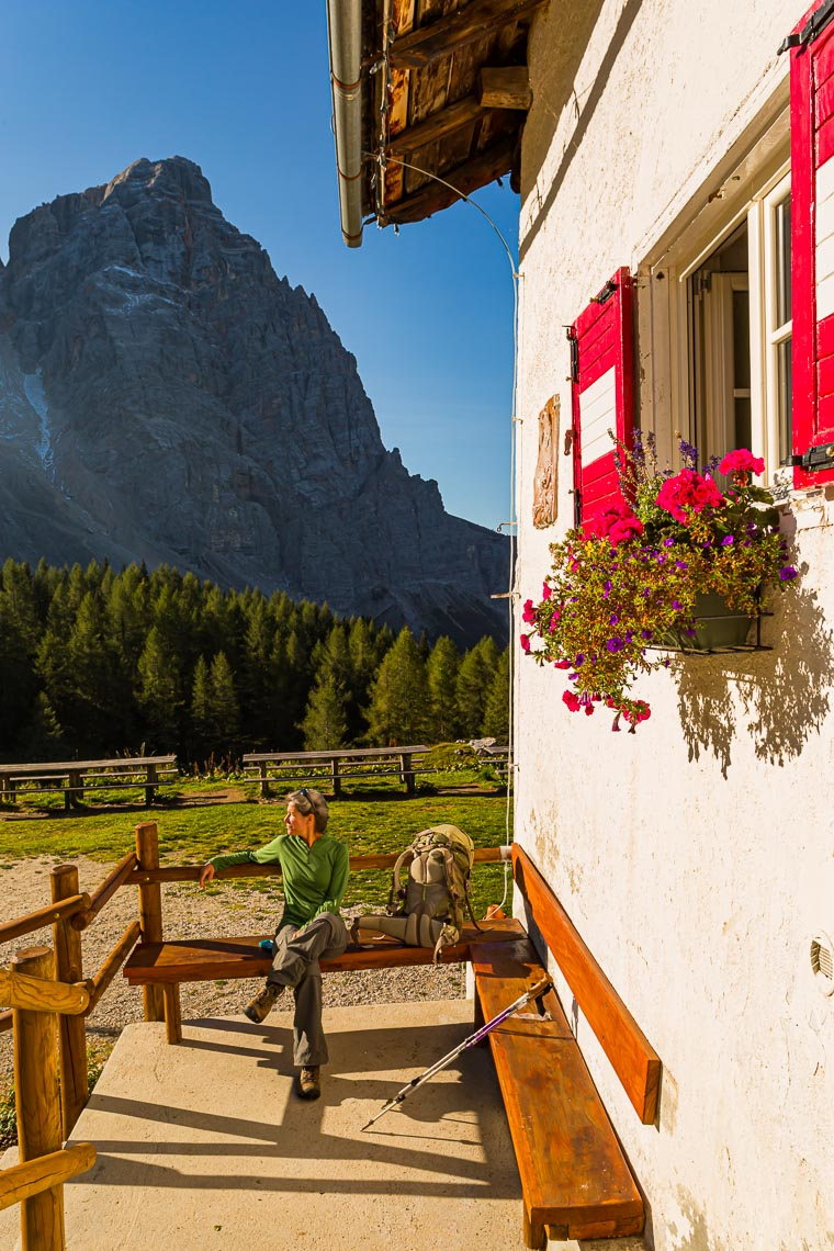 Hiker At Citta di Fiume Hut Dolomites | Michael DeYoung
