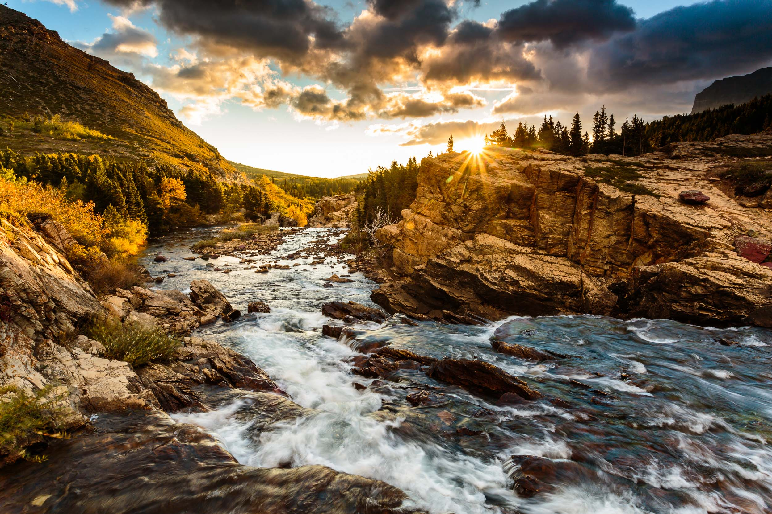 Glacier National Park Swift Current Lake Sunrise Landscape