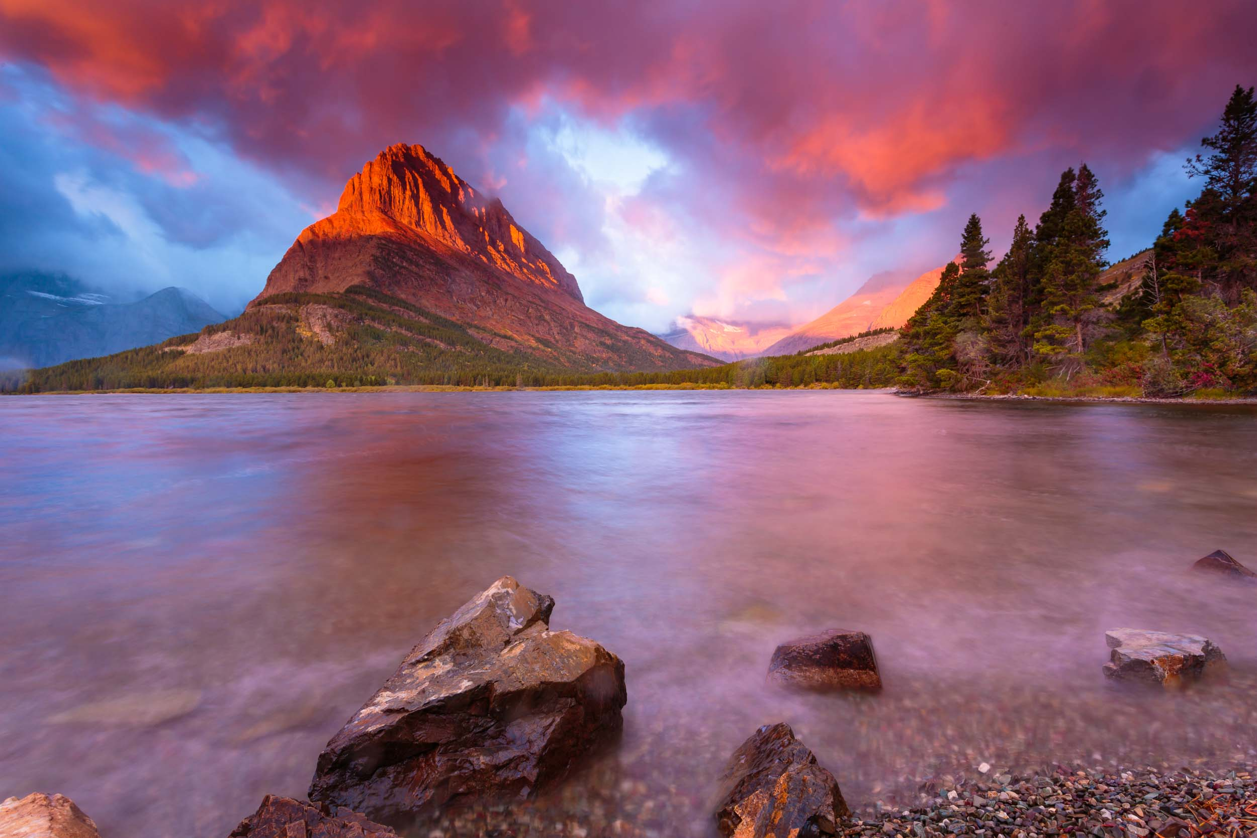 Montana Glacier National Park Swift Current Lake Storm