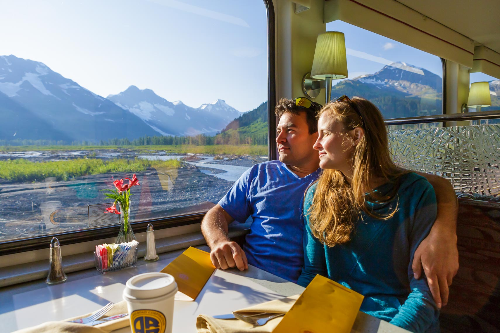 Couple in Alaska Railroad Dining Cart | Michael Deyoung