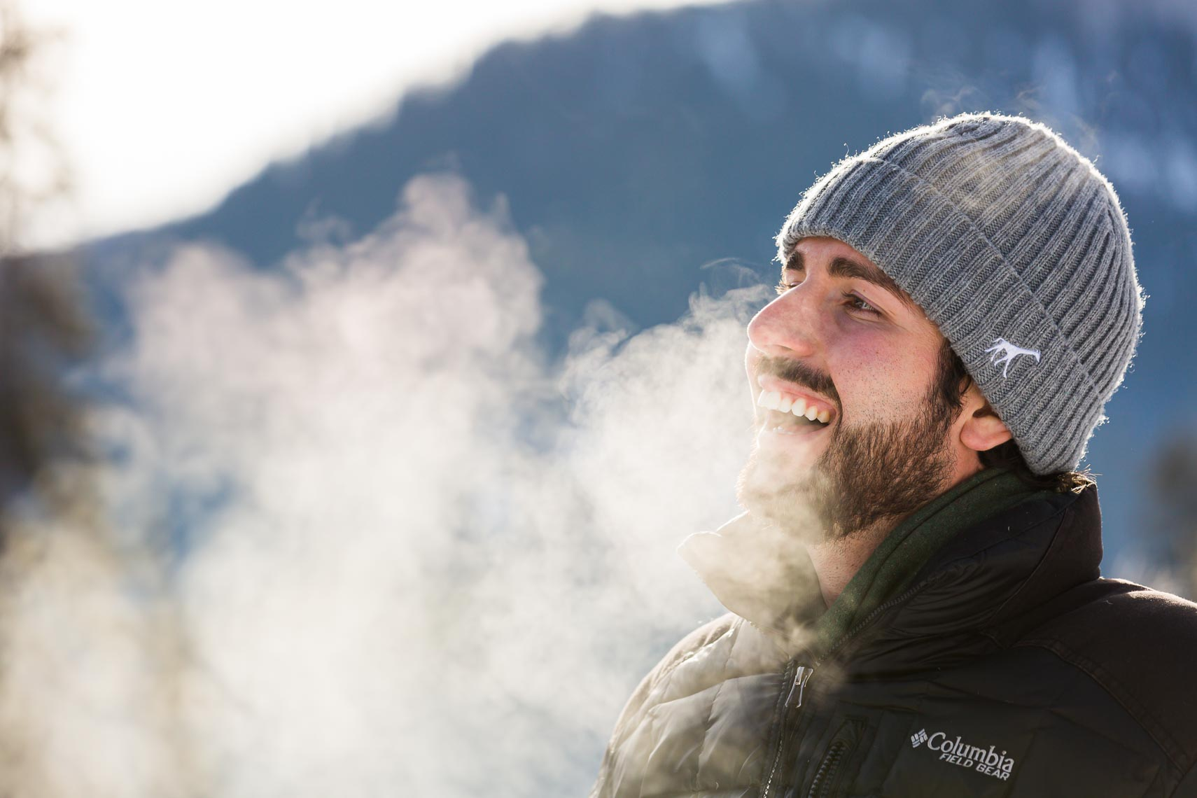 Utah Winter Lifestyle Millenial Male Exhales | Michael DeYoung