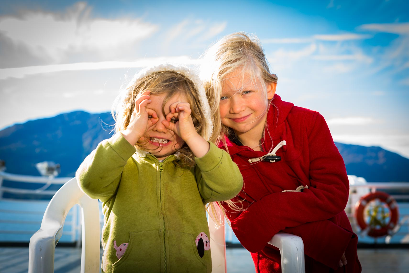 Environmental Portrait Sisters on Alaska Ferry | Michael DeYoung