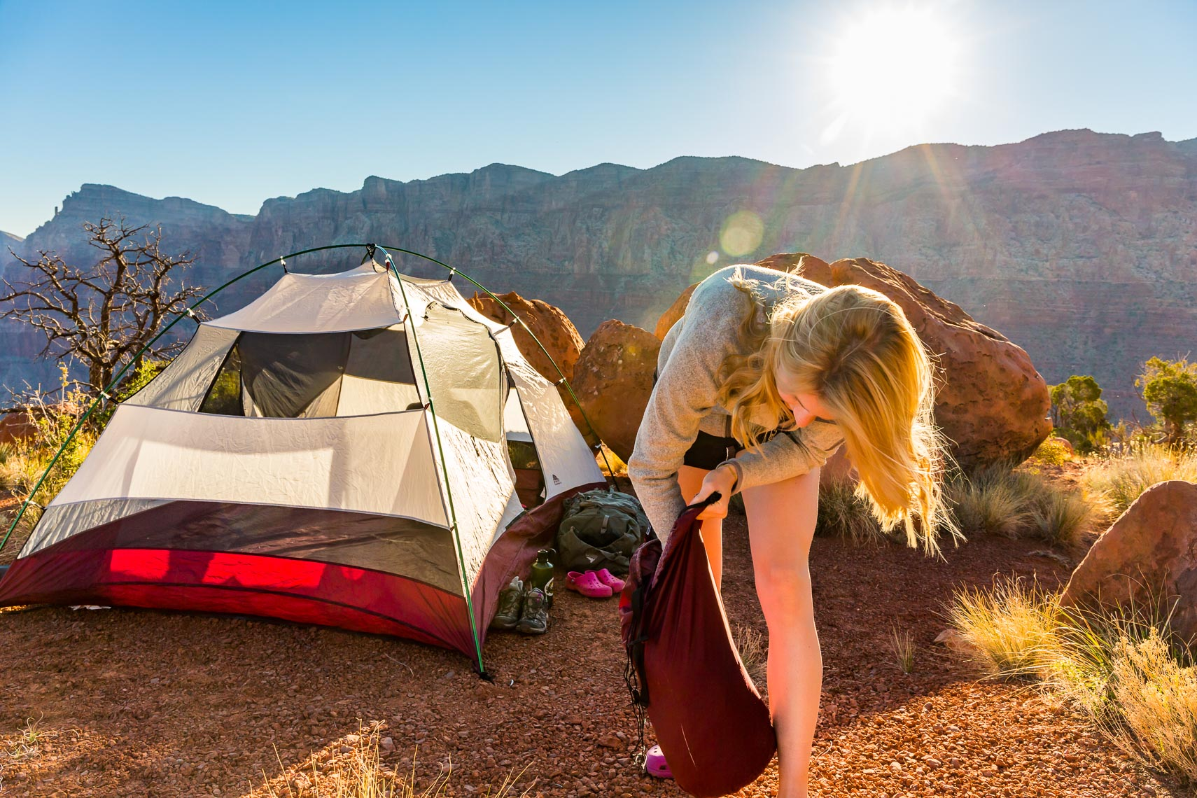 Grand Canyon Backpack Break Camp | Michael DeYoung