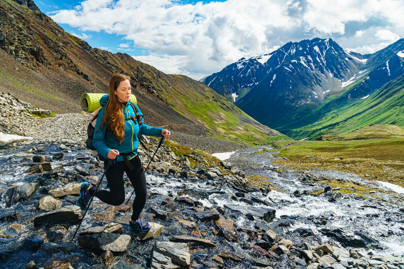 Backpacker on Alaska Crow Pass Trail | Michael DeYoung